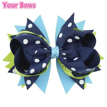 "5.5"" 3 Layer Overlay Hair Bows Hair Clip Girl Headbands Bows Grosgrain Ribbon Bows Girl Hair Accessories hair tie Cute Hairpin"