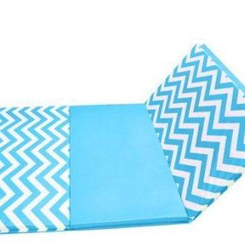 "4' x 8' x 2"" Chevron Folding Gymnastics Mat (Light Blue/White Chevron)"