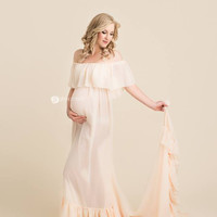 Robinett Gown - Boho sheer maternity gown • by Sew Trendy