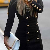 Black Long Sleeve V-Neck Dress with Buttons
