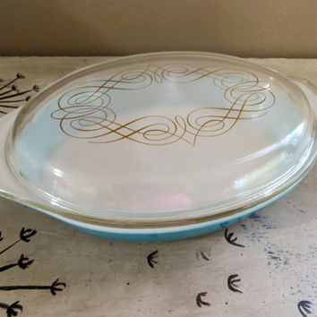 Pyrex Dish Pyrex Oven Ware Promotional Pyrex Blue with Gold Swirled Lid Covered Casserole Serving Pyrex Oval Pyrex Baking Dish Covered Pyrex