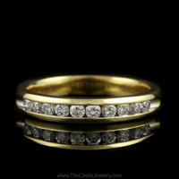 Channel Set 1/2cttw Round Diamond Wedding Band in 14K Yellow Gold