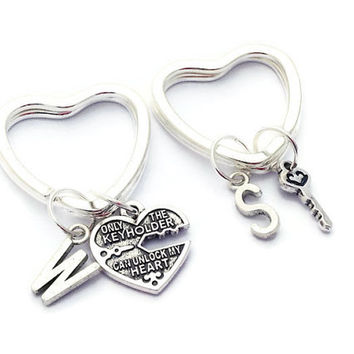 Key To My Heart, Boyfriend Keyring, Only The Keyholder Can Unlock My Heart, Long Distance Romance, Gift For Girlfriend, Keychain Set