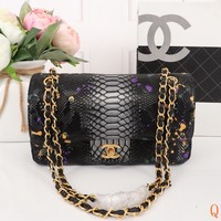 HCXX 19Sep 495 Fashion Simple Python Pattern Chain Crossbody Pouch Flap Shoulder Baguette Bag 25-15-7cm