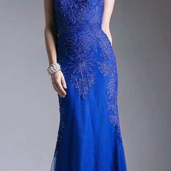 Royal Blue Appliqued Long Formal Dress Cap Sleeved