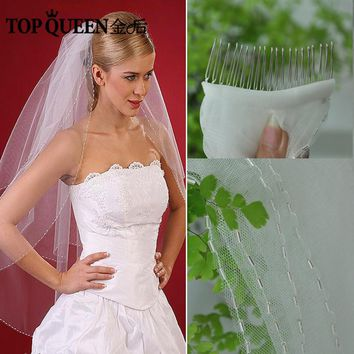 TOPQUEEN V02 In Stock Wedding Veils Soft Bridal Illusion Ivory And White Bead Edges Bridal Wedding Accessories Veils