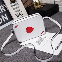 Peculiar Korean version of the new creative Funny Messenger Bag shoulder bag Playing cards Shape Funny Gift Heart packing cubes