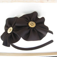 Brown Flower Headband, Girls Hair Accessories, Satin Wrapped Headband