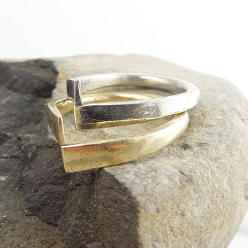 "RING ""Enigma2"" in 14K Yellow, Rose and Sterling Silver. Modern, Minimalistic. Hammered, Forged, Stackable."