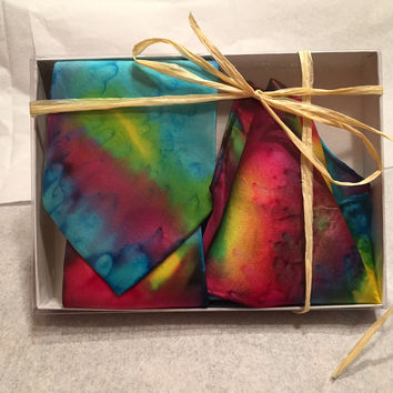 Men's Tie & Pocket Square Set - Hand Painted Silk