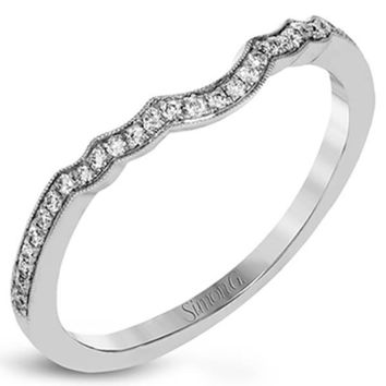 "Simon G. ""Vintage Style"" Curved Milgrain Diamond Wedding Ring"