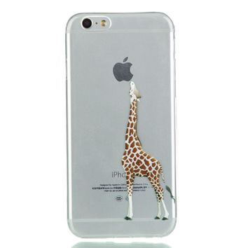 For Apple iPhone 5 5s se Soft TPU Case giraffe Eat the ping fruit pattern transparent for iPhone 5 5s se