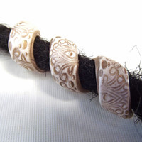GYPSY PAISLEY Dreadlock Beads - White and Gold Bohemian Dreadlock Accessories