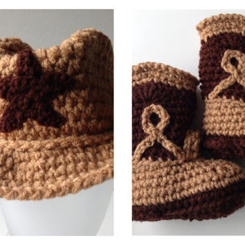 Cowboy Baby Hat and Booties - Set - Brown Cowboy Hat and Cowboy Boots - Handmade Crochet - Made to Order