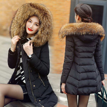 Women 's long section of plus thick /fur collar/ large size /Filled with gray duck  down jacket down jacket  2XL/4XL/tb221006