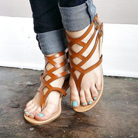 A Gladiator Sandal in Tan