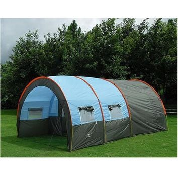 Large Camping Tent Waterproof Canvas Fiberglass 8 10 Person Tunnel Tent Outdoor Party Family Tents Outdoor Camping Picnic