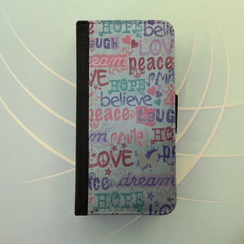 Peace love hope believe iPhone 4 / 5 case Samsung Galaxy S3 S4 wallet, iPhone wallet case, book style, Samsung iPhone flip case