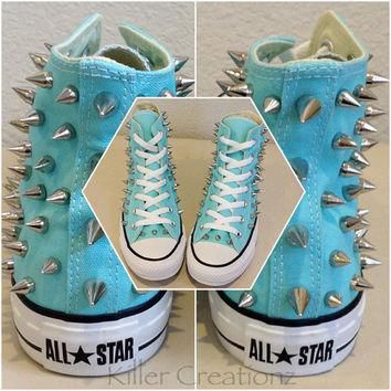 new custom spiked converse aqua blue high tops with silver spikes size 7 or 8 women