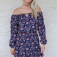 Eiffel Tower Dreams Navy/Rust Paisley Off The Shoulder Dress