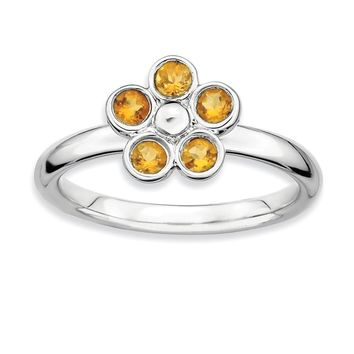 Silver Stackable .32 Cttw Citrine Flower Ring
