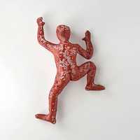 Climbing Figure, metal wall art, Unique gift, modern sculpture, wall hanging, Metal art, Sports decor, red