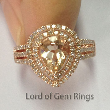 Ready to Ship - Pear Morganite Engagement Ring Pave Diamond Wedding 14K Rose Gold 6x8mm Double Halo