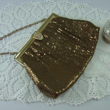 Vintage Gold Mesh Purse Evening Bag with Rhinestone Clasp Whiting and Davis Wedding Accessory Prom Accessory