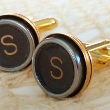 Letter S Gold Cuff Links, Men's Jewelry, Typewriter Key Cuff Links, Vintage S Typewriter, Initial S Cufflinks, Mens Personalized Cuff Links