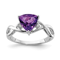 Sterling Silver Amethyst White Topaz Trillion Ring