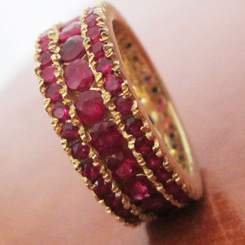 Anniversary Ring, Thick Ring, Ruby ring, Eternity ring, 18K Gold,3-Row Eternity Ring,Ruby,Gemstone,3.35 carat Natural Rubies,July Birthstone