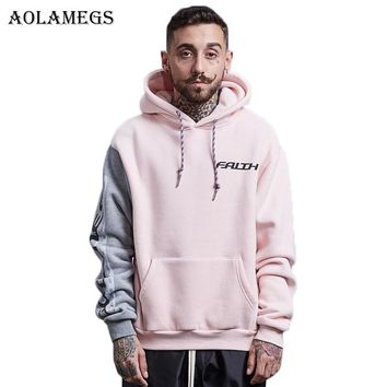 Aolamegs Hoodies Men Patchwork Hood Couple Pullover High Street Cotton Fashion Hip Hop Streetwear Casual Pocket Hoodie Autumn