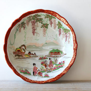 Vintage Asian bowl / Japanese country garden scene / cottage chic home decor / purple wisteria / gold / orange / pink lotus / hand painted