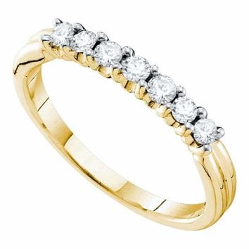 14kt Yellow Gold Women's Round Pave-set Diamond Single Row Wedding Band 1/3 Cttw - FREE Shipping (US/CAN)