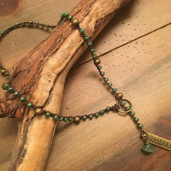 Boho Lariat, Believe Pendant, Crochet Beaded Necklace, Green Lovers, Natural Stone Necklace