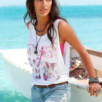 White Printed Sleeveless Loose Blouse