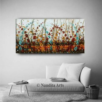 "Floral Painting on Canvas 48"" Flower Wall Art Abstract Colorful Wild Flower Painting Still Life Canvas Art Home Decor by Contemporary Art"