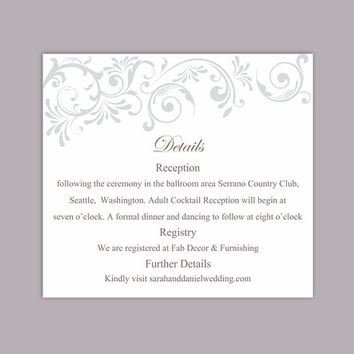 DIY Wedding Details Card Template Editable Text Word File Download Printable Details Card Gray Silver Details Card Elegant Enclosure Cards