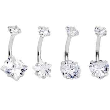 Clear Gem Round Rhombus Heart Star Belly Ring Set of 4