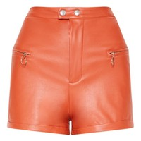 Tan Faux Leather Zip Detail Short