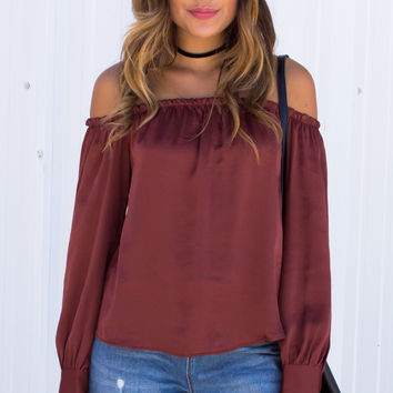 Elysium Silky Button Cuff Off The Shoulder Top - Rust/Wine