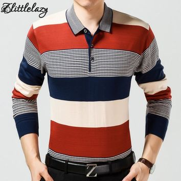 2018 casual long sleeve business mens shirts male striped fashion brand polo shirt designer men tenis polos camisa social 666