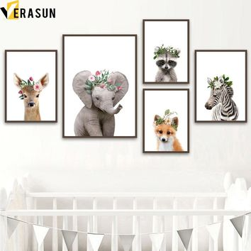 Baby Elephant Deer Zebra Fox Raccoon Wall Art Canvas Painting Nordic Posters And Prints Animal Wall Pictures For Kids Room Decor