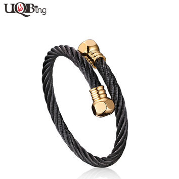High Quality 316L Stainless Steel Open Cable Chain Bracelets & Bangles Boutique Jewelry For Women Men Gifts