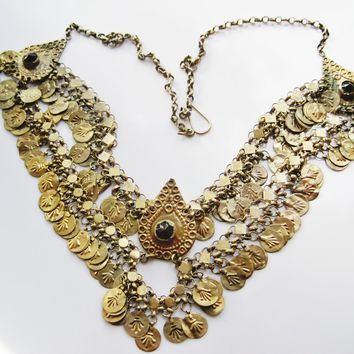 Antique Turkish Ottoman Gilt Head Ornament Changed into a Bib Necklace