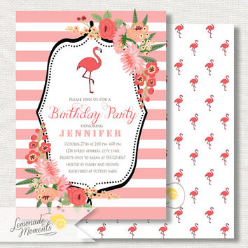 Flamingo Birthday Invitation - Flamingo Birthday Party Invite