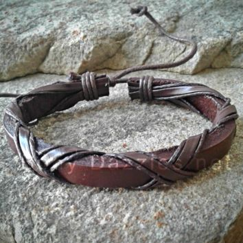 Brown Criss Cross Adjustable Unisex Leather Weave Wrap Bracelet