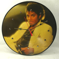 MICHAEL JACKSON Thriller - Recycled Vinyl Record Wall Clock - Collector Picture Disc Album