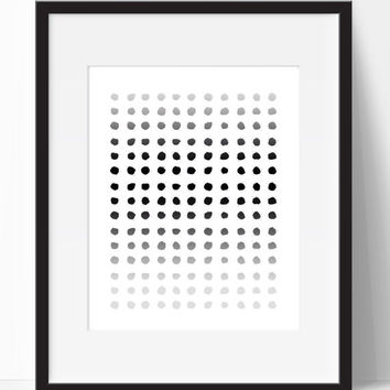 Home Decor, Art, Black Dots, Black Grey, Digital Print, Instant Print, Wall Decor, Wall Art, Living Room, Dorm Room, Nursery, Ombre, Modern
