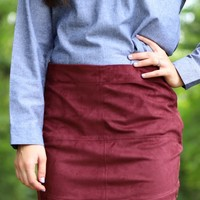 The Iverson Skirt in Burgundy   Monday Dress Boutique